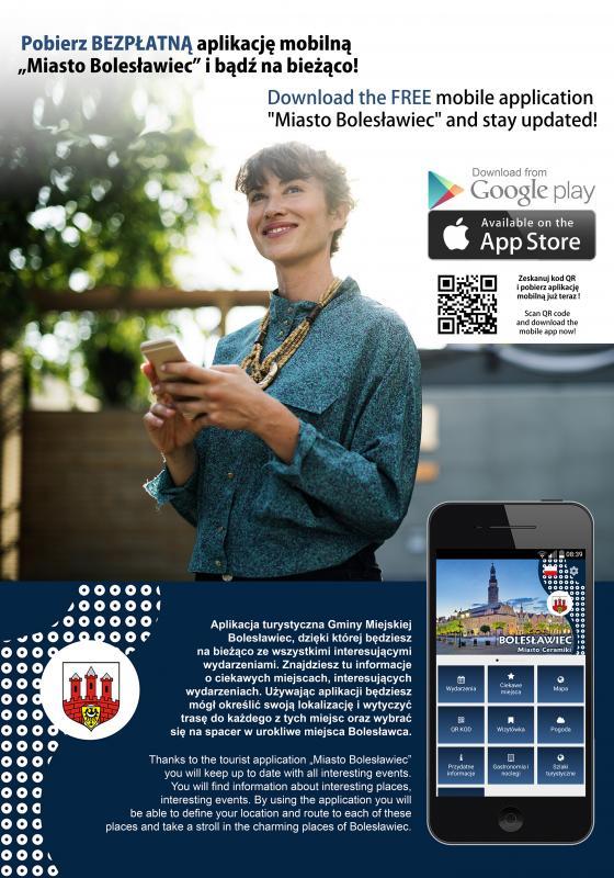"""Bądź na bieżąco. Pobierz bezpłatna aplikację mobilną """"Miasto Bolesławiec"""""""