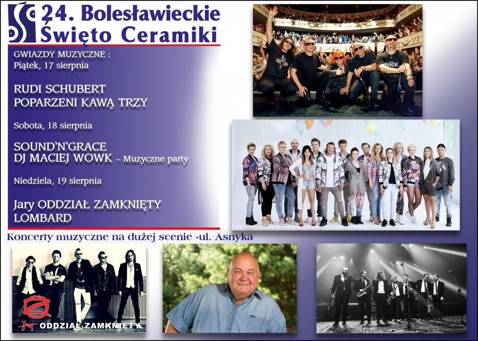 24. Bolesławieckie Święto Ceramiki 15 - 19 sierpnia 2018 – gwiazdy muzyki